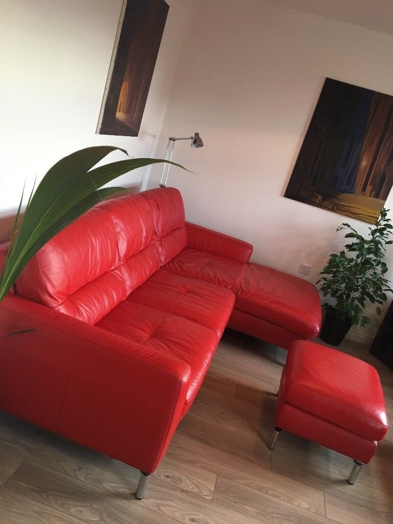 DFS, red leather, corner sofa