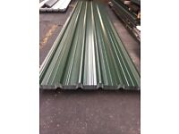 Box profile roofing sheets, juniper green polyester