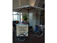 Beautiful vintage ice cream bike, candy cart alternative for wedding party and events