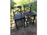 Bar stools black IKEA ingolf