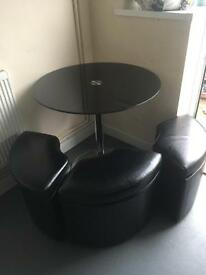 Black Glass Round Table + 4 Seats