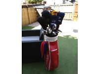 Golf clubs with bag and irons metal woods