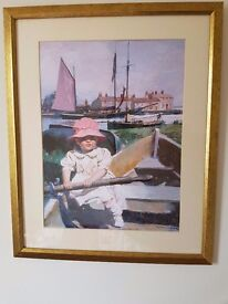 Little girl in row boat ( signed print )