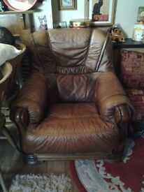 Three seater sofa and 2x arm chairs real leather