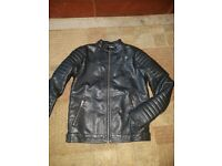 Boys black leather jacket and 2 pairs of ted baker tan chinos. Age 11