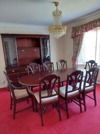 Mahogany Table, Chairs and cabinet set