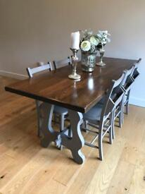 Stunning vintage country dining table and 6 church chairs French grey