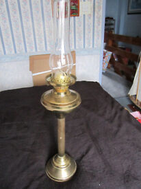 Large Old Brass Oil Lamp