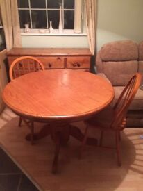 Round dining table and 4 chairs - solid pine wood, farmhouse, upcycle project
