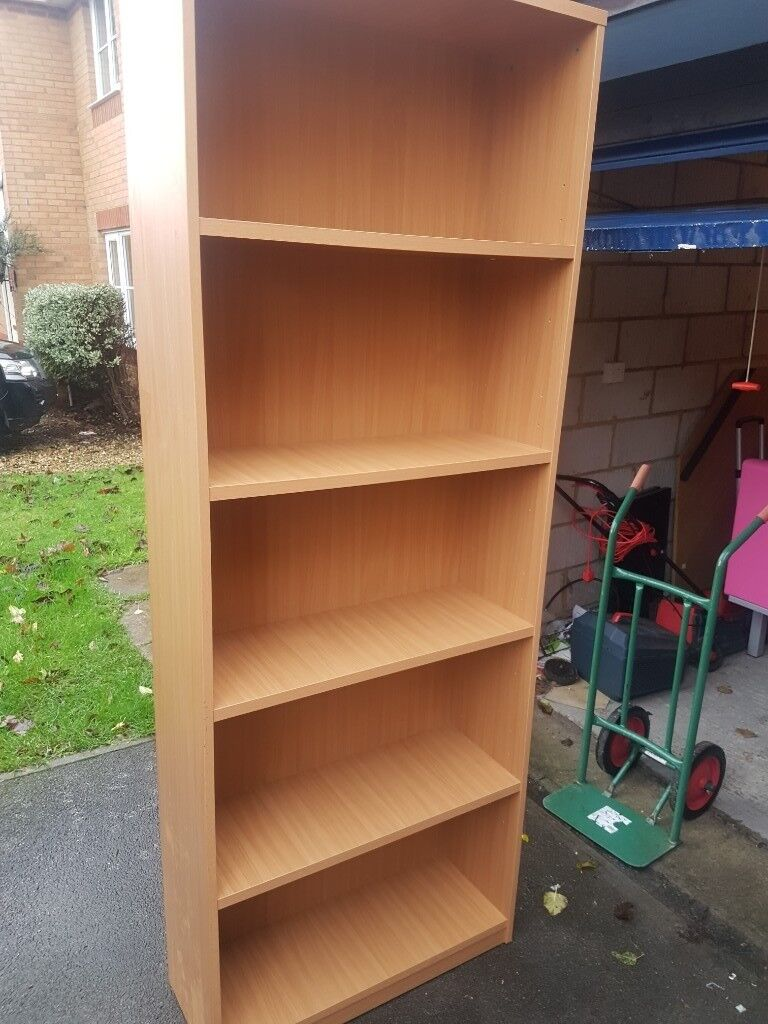 eaede89a1cc Very Tall office bookcase in a Beech effect. 4 fixed shelves