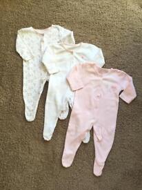 Baby Girl Sleepsuits / Baby growths 0-3 months