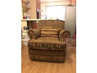 Three seater and two one seater cloth material for £60.00
