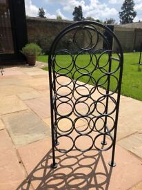 Black heavy wrought iron wine rack