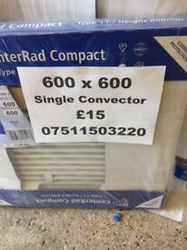 CENTRAL HEATING RADIATOR CENTERRAD Single Convector 600mm high x 600 mm long.