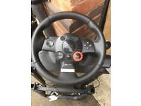 Logitech GT steering wheel and pedals,