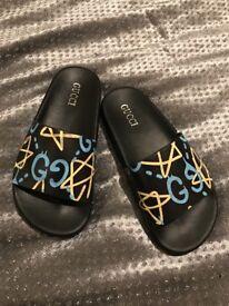 Gucci ghost print slide sandals unisex