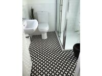Geometric ceramic feature floor or wall tiles for bathroom, kitchen, utility - 17 tiles in total
