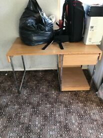 WOODEN DESK WITH CHROME LEGS WITH DRAW