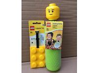 LEGO HEAD DRINKING BOTTLE + BAG TAG LABEL KEY FOB BNWT