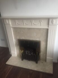 White Fire Surround. 51 inch wide, 45.5 inch in height. For collection only please. £25.