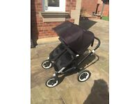 Bugaboo Donkey Twin Pram & Pushchair All Black - only one owner!