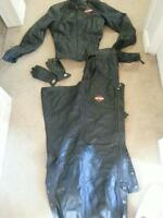 womens harley chaps, jacket and gloves