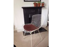 White wire and leather design classic Bertoia side chair (8 available)