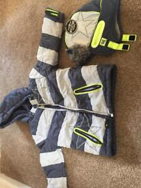 Boys winter coat and matching hat from next