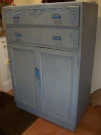 vintage cupboard blue finish