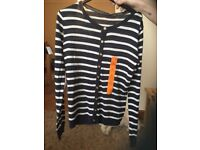 By and white striped cardigan