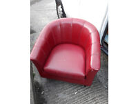 red leather look tub chair