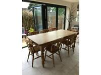 Pine Table & 7 Fiddle Back Chairs