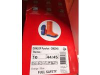 Size five six and ten safety toe thermal wellies