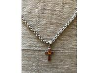 Thick and havy rear belcher sterling silver chain witch baltic amber cross