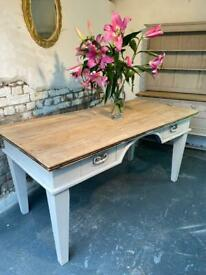 Vintage Oak Butchers Block style Kitchen Dining Table And Chairs Chunky Old Oak Table
