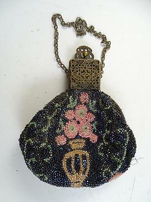 Antique Art Deco Flower Vase Bead Purse Clutch Chain 1910s Vintage Retro Pouch