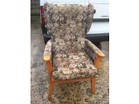 High backed wooden framed armchair, delivery available