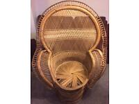 Vintage late 60s/early 70s wicker peacock Emanuelle chair