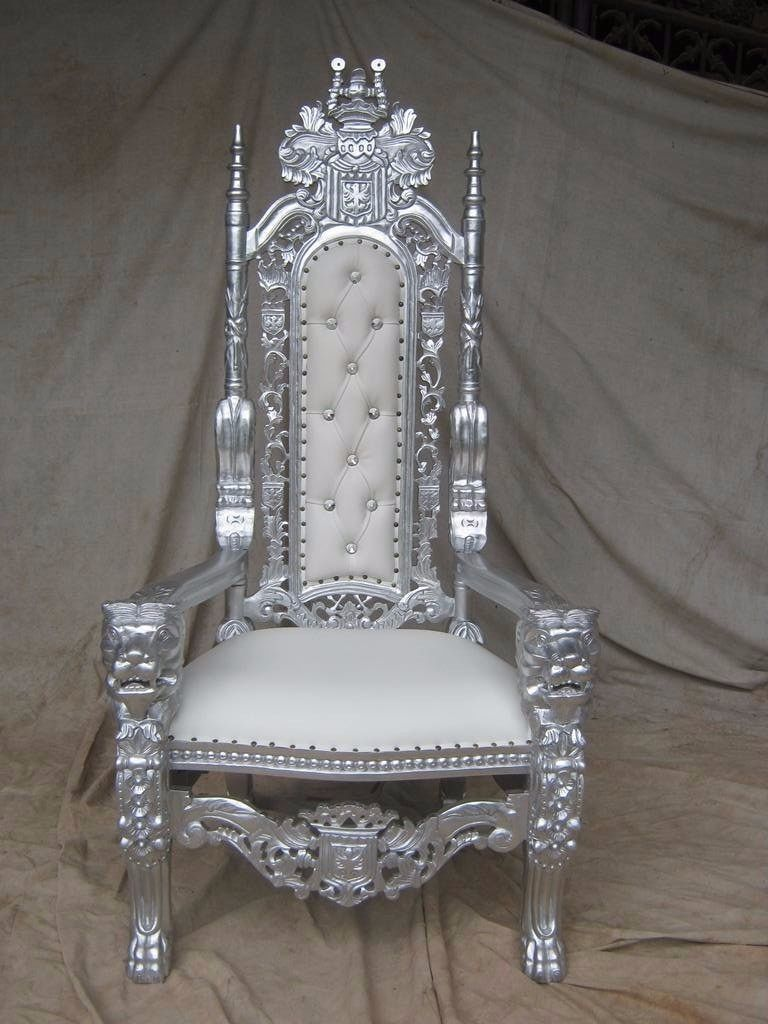 BRAND NEW Lion Throne Chair King Asian Wedding Ornate French Silver Leaf White Leather Gilded