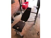 York 540 Folding Bench and Squat rack, Barbell and weights
