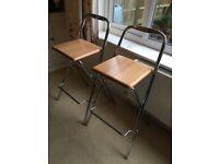 Two breakfast bar stools (steel/wooden)