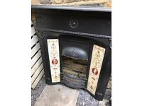 Gas fire and Victorian cast iron Mantelpiece
