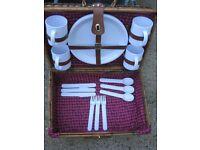 Picnic Hamper - Wickerwork Picnic Hamper with Plastic Mugs, Plates and Cutlery