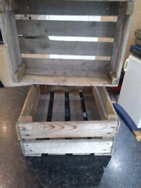 Wooden display crates for veg bottles etc