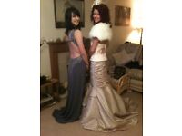 womens size 8-10 size dusty pink cream fishtailed ball gown, prom dress