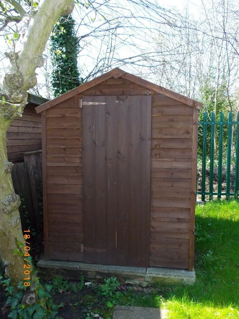 7' x 5' Overlap Apex Wooden Shed with windows on one side, in very good condition.