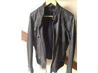 All Saints Leather Jacket (Brown/Black) Medium