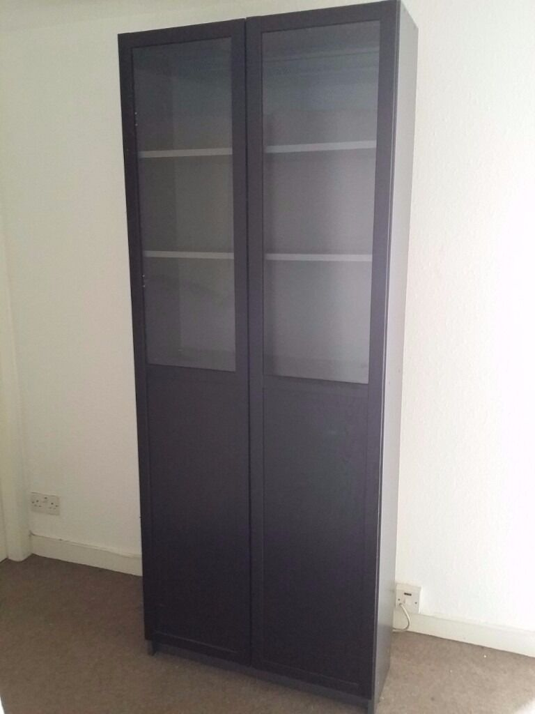 IKEA BILLY / OXBERG Bookcase with Panel/Glass Door - Black/Brown and Dark Grey | in Roseburn ...