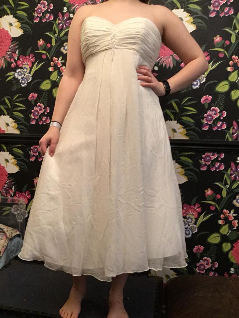 WEDDING DRESS SIZE 12/14 OK EXCLUSIVE BY DAVID EMANUEL   in Radyr ...