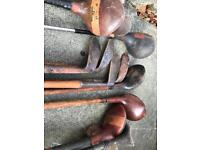 Old golf clubs and bags